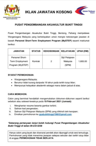 Jawatan Kosong Di Jabatan Perikanan Malaysia - TCER.MY