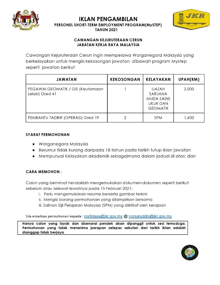 Jawatan Kosong Di Jabatan Kerja Raya (JKR) Cawangan ...