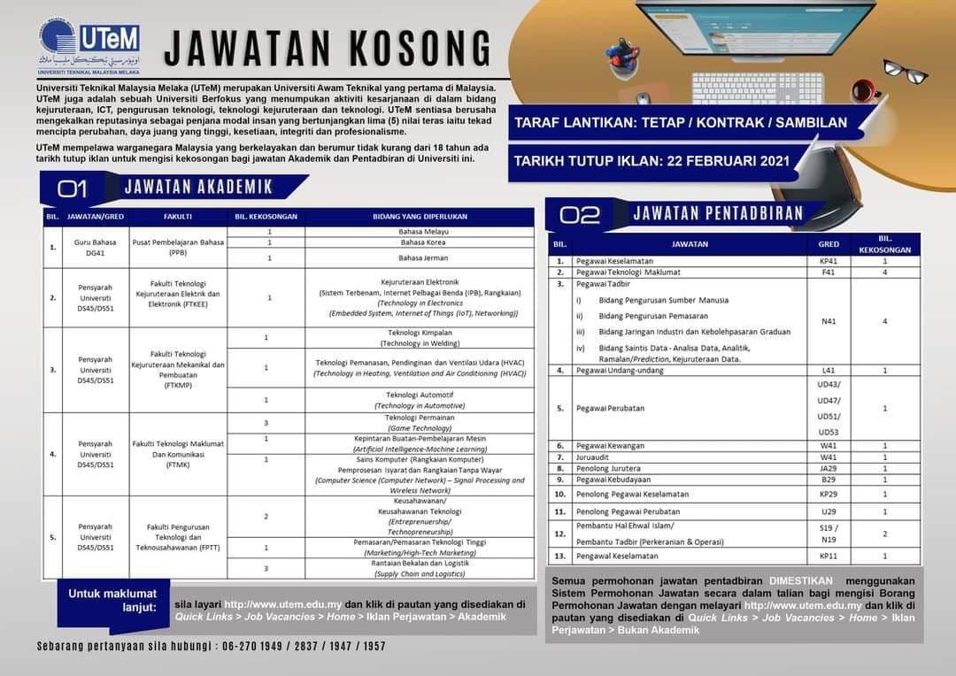 Jawatan Kosong Di Universiti Teknikal Malaysia Melaka ...
